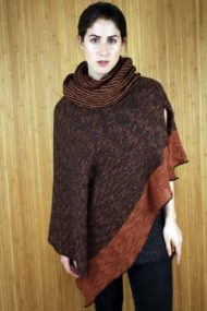 Bronze Donegal Merino Wool & Linen Cape with Snood