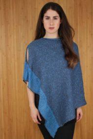 Royal Blue Silk & Linen Poncho