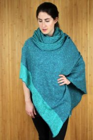 Spearmint Donegal Merino Wool & Linen Cape with Snood