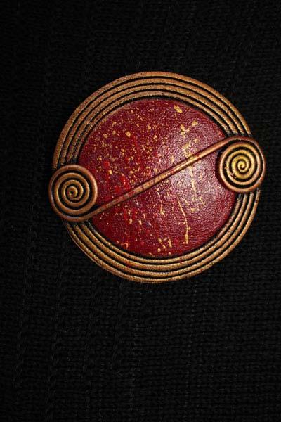 Bordeaux Scroll Brooch