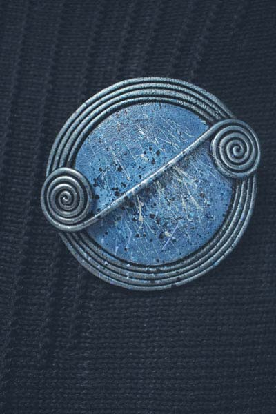 Denim Scroll Brooch