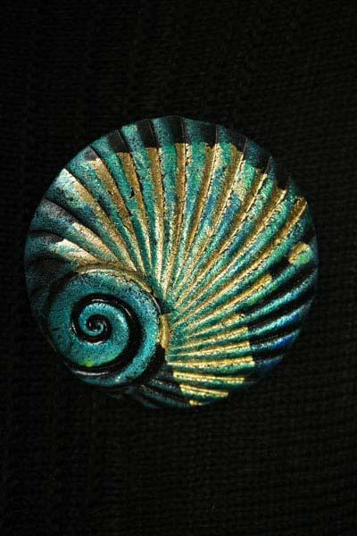 Spearmint Shell Brooch