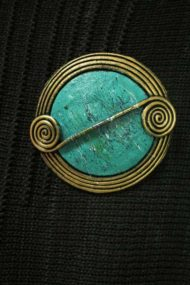 Spearmint Scroll Brooch
