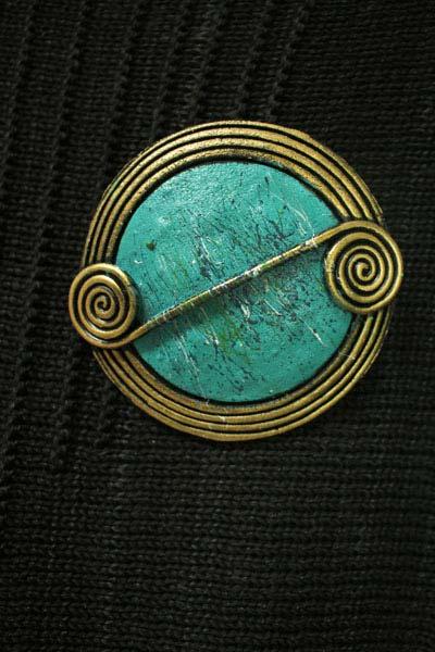 Spearmint Scroll Brooch