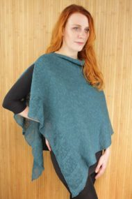 Dark Turquoise Linen Poncho