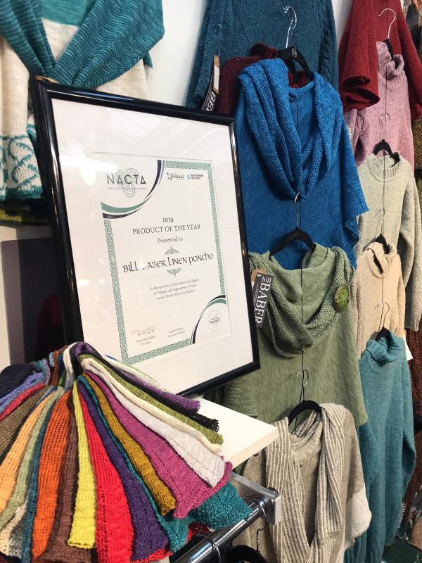 Our proudly displayed award alongside some of our award winning knitwear!