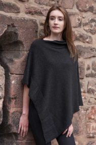 Charcoal Silk & Cashmere Cape