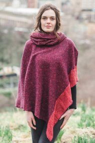 Raspberry Donegal Cape & Snood Set