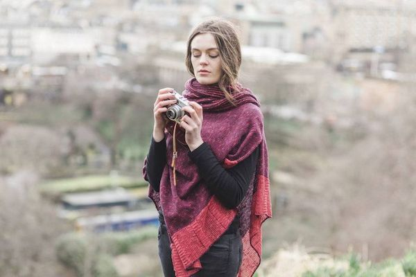 Raspberry Donegal Cape and Snood, overlooking Edinburgh.