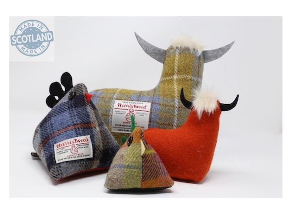 Harris Tweed Cow Doorstop